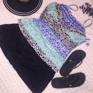 🏝South Point 2pc Tankini Top Skirt Swim Suit